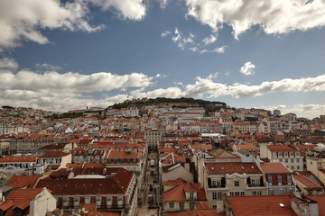 View towards Sao Jorge Castle, Lisbon, Portugal