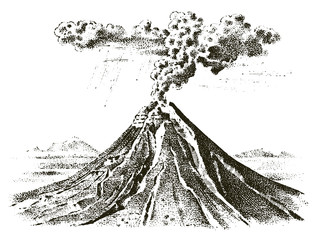 volcano activity with magma, smoke before the eruption and lava or nature disaster. for travel, adventure. mountain landscapes. engraved hand drawn in old sketch, vintage style.