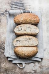 Multi-grain bread rolls, close-up