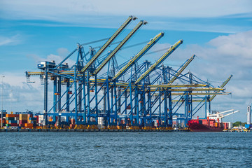 Gantry cranes in the international port of Cartagena, Bolivar, Colombia, South America