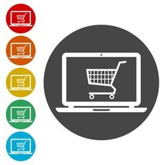 Online shop sign, Online shopping on laptop