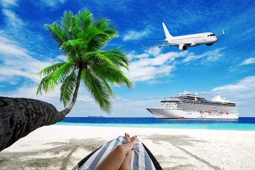 Woman on sunbed under palm tree. Cruise liner and airplane over ocean. Travel background