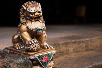 Golden lion statue, Phuket, Thailand, Asia