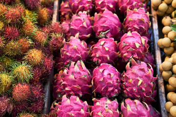 Dragon fruit on fruit and vegetable stall, Phuket, Thailand, Asia