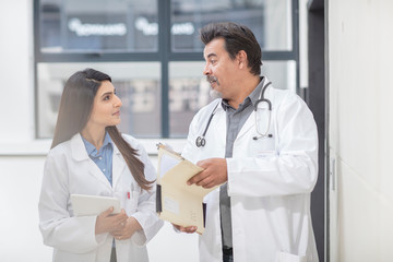 Male and female doctor in hallway, in discussion