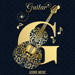 Musical logo for information and promotion. on decorated background, music cover. decorated with a pattern