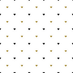Seamless pattern with black and gold heart shapes. Valentines day. Vector illustration. Background.