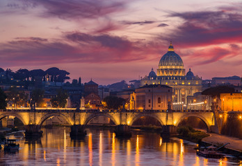 Poster de jardin Rome View to bridge and Vatican City at sunset. Rome, Italy