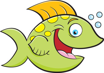 Cartoon illustration of a smiling fish blowing bubbles.