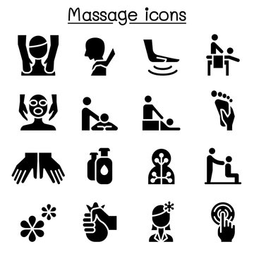 Massage, Spa & alternative therapy icon set illustration graphic design