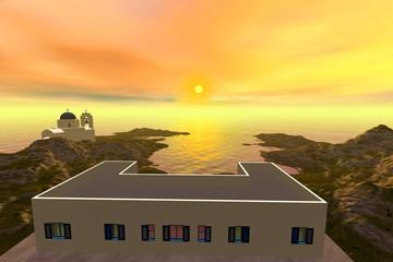 Sunset, a mediterranean landscape, white house a  beautiful church and a dreamy sky.