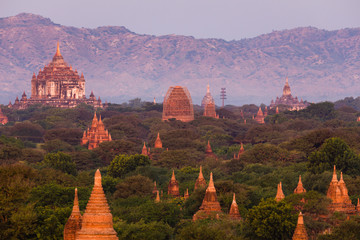 The temples and pagodas of Bagan, Myanmar near Mandalay during sunset