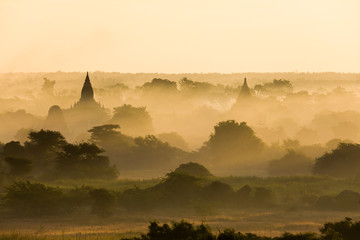 The temples and pagodas of Bagan, Myanmar near Mandalay in the morning mist