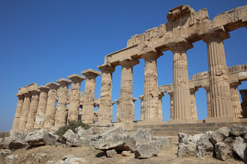 The Temple of Hera (Temple E) at Selinunte. Sicily. Italy