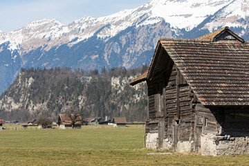 Local Swiss Alps mountain scenery of a little village close to Brienz, Switzerland