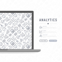 Analytics concept with thin line icons: diagram, chart, statistics, pyramid, business analysis. Modern vector illustration, web page template.