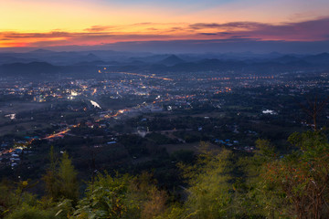 Beautiful sunset at viewpoint of Phu Bor Bid, Loei. Nature of high mountains at Loei. Thailand landscape of Phu Bor Bid.