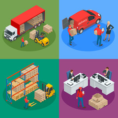 Isometric Logistics and Delivery concept. Delivery home and office. City logistics. Warehouse, truck, forklift, courier and delivery man.