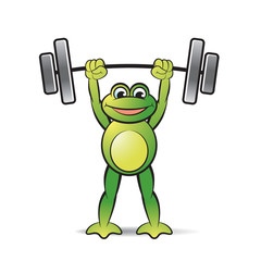 frog cartoon or mascot lifting weight happily vector illustration