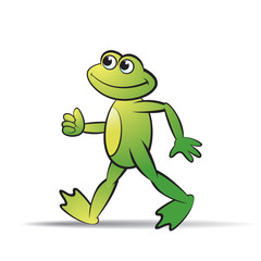 frog cartoon or mascot walking happily vector illustration