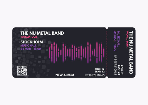 Music concert ticket template. Dark, black color design with white, purple and pink gradient text. Sound wave line concept. Vector template for music event, show or performance pass or coupon.