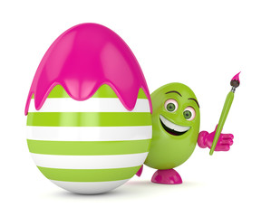 3d render of Easter cartoon egg in with paintbrush