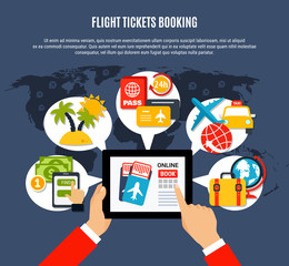 Flight Tickets Online Booking Poster