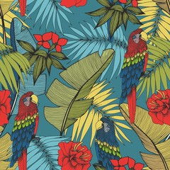 Tropical plants and parrots. Vector seamless pattern for design