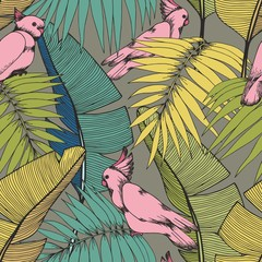 Tropical plants and parrots. Vector seamless pattern