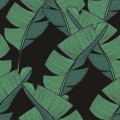 Banana branches. Vector seamless pattern for design