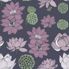Water lily. Vector seamless pattern for design