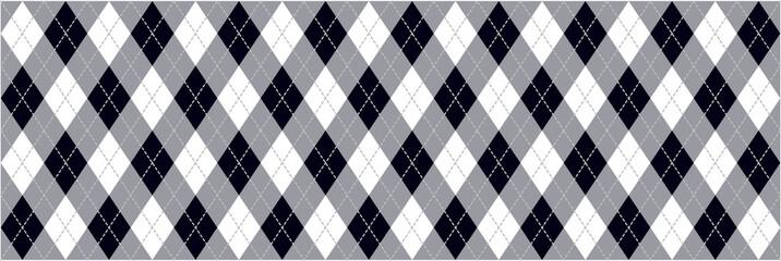 Black and White Argyle Background Banner