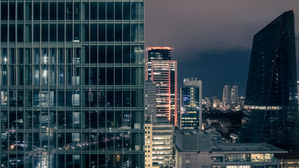 Commercial buildings of Levent, business and finance area at night, Istanbul