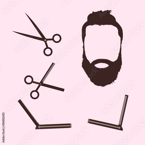 Set Of Professional Barber Shop Icon Vector Vintage Style Logo