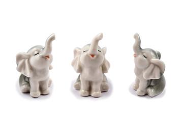 Figurine elephant stock images. Elephant on a white background. Set of cute elephants