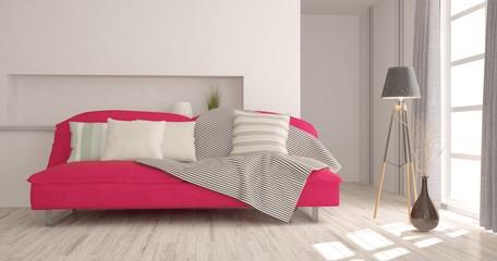 Idea of white minimalist room with pink sofa. Scandinavian interior design. 3D illustration