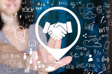 Business handshake pointer in network internet