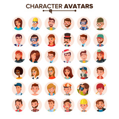 People Avatars Set Vector. Face, Emotions. Default Character Avatar Placeholder. Flat, Cartoon, Comic Art Flat Isolated Illustration