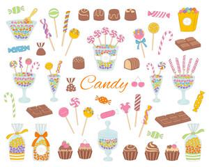 Candy set vector hand drawn doodle illustration.