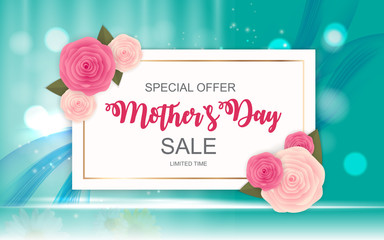 Happy Mother`s Day Cute Sale Background with Flowers. Vector Illustration