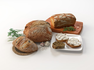 Composition with different kind of bread and buns isolated on white. 3D illustration