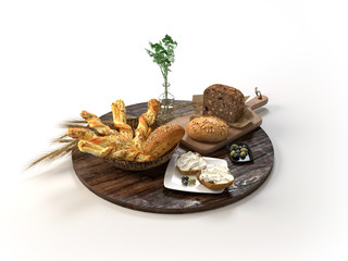 Composition with different kind of bread and rolls isolated on white. 3D illustration