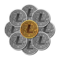Set of mixed gold and silver crypto currency coins with litecoin symbol on obverse isolated on white background. Vector illustration. Use for logos, print products, page and web decor or other design.