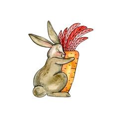 Cute bunny watercolor illustration. Little beautiful rabbits.