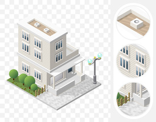 Isometric High Quality City Element with 45 Degrees Shadows on Transparent Background . Residential