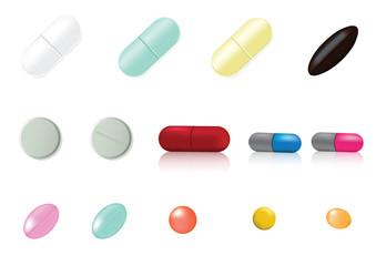 Mix Medicine Pill and Vitamin Background Illustration