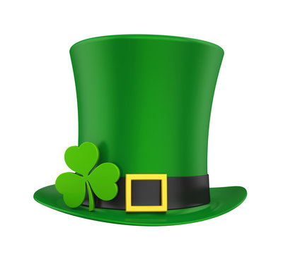 St. Patrick's Day Hat with Clover Isolated