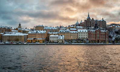 Stockholm city on a winter afternoon.
