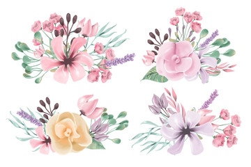 Beautiful watercolor floral, flowers, bouquet set, collection, clipart. Hand drawn roses, peony, lilac, magnolia wreath