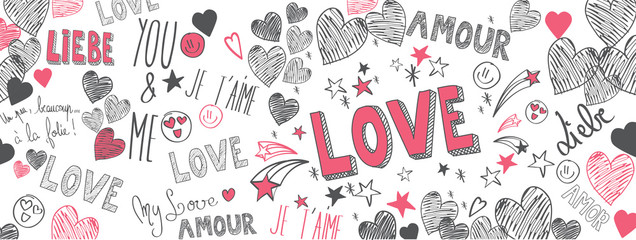 Keuken foto achterwand Graffiti Love doodles background